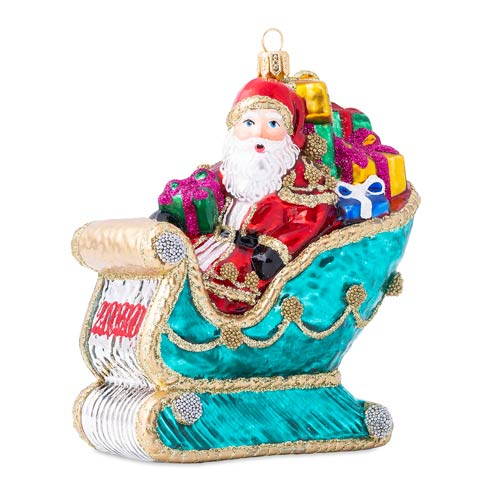 $98.00 Berry & Thread 2020 Santa in Sleigh Glass Ornament