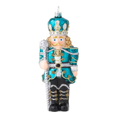 $68.00 Berry & Thread Teal Nutcracker Glass Ornament
