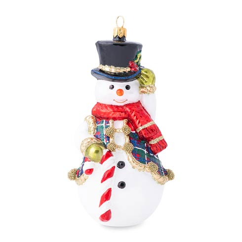 $68.00 Berry & Thread Tartan Snowman Glass Ornament