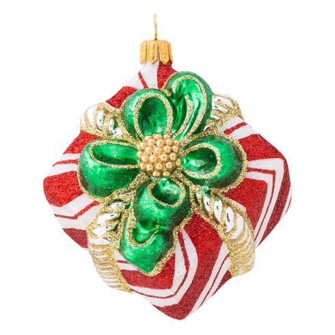 $68.00 Berry & Thread Red & White Stripe Present Glass Ornament