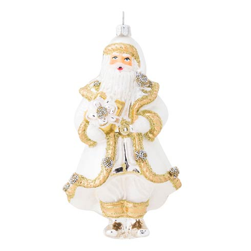 $68.00 Berry & Thread Gold & Silver Santa Glass Ornament