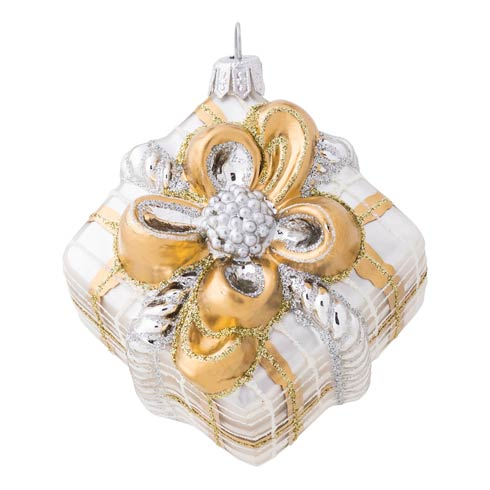 $68.00 Berry & Thread Gold & Silver Tartan Present Glass Ornament