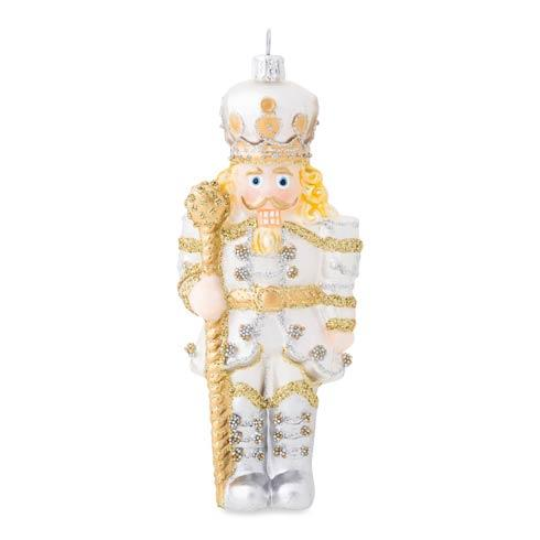 $68.00 Berry & Thread Gold & Silver  Nutcracker Glass Ornament