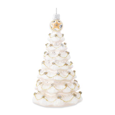 $68.00 Berry & Thread Gold & Silver Tree Glass Ornament