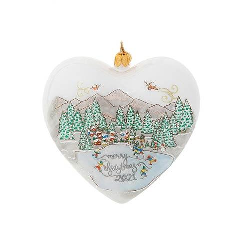 $98.00 Berry & Thread North Pole Merry Christmas 2021 Heart Glass Ornament