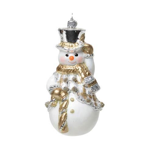 $78.00 Berry & Thread Gold & Silver Tartan Snowman Glass Ornament