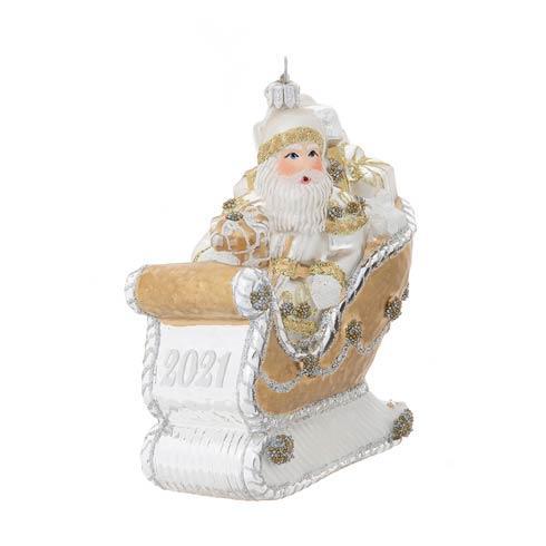 $98.00 Berry & Thread Gold & Silver Santa in Sleigh Glass Ornament