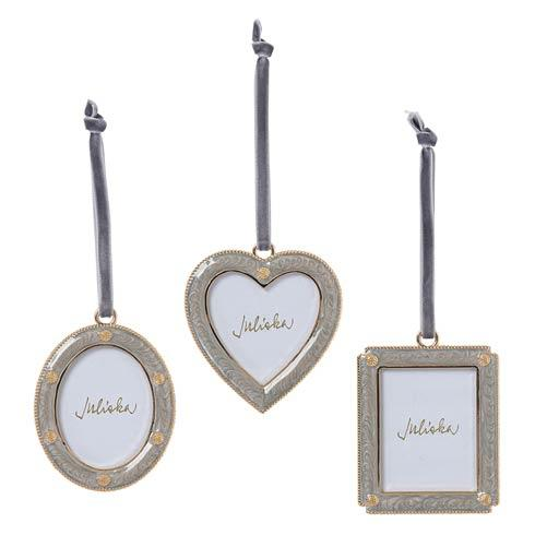 $98.00 Berry & Thread Silver Enamel Frame Ornaments, Set of 3