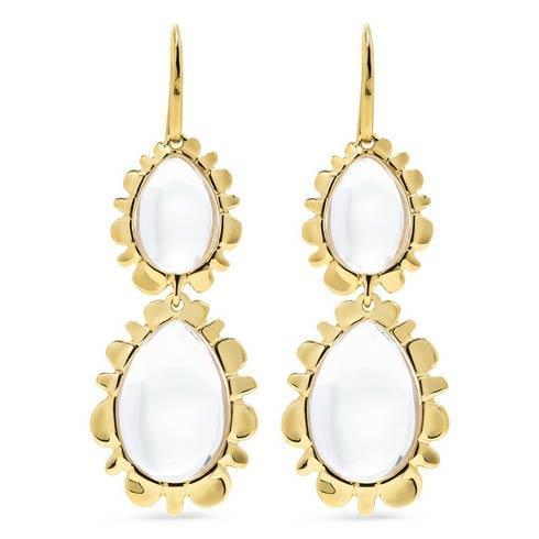 $395.00 Double Bliss Drop Earrings, Clear Quartz