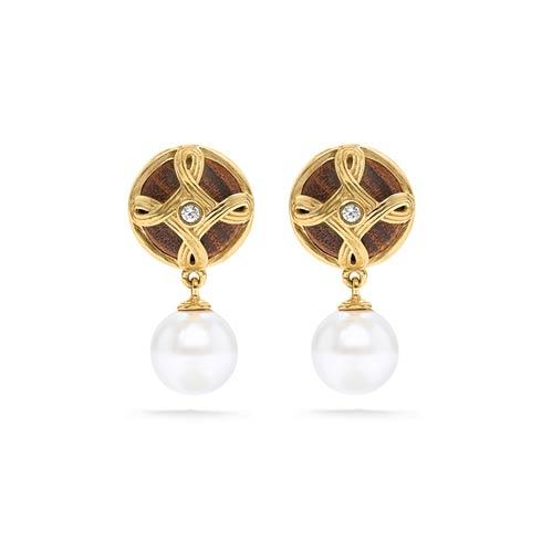 $135.00 Drop Earrings, Pearl/Teak