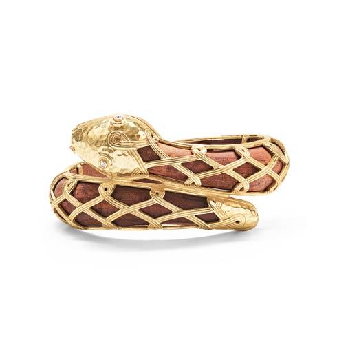 $335.00 Serpentina Hinged Bangle, Gold/Teak