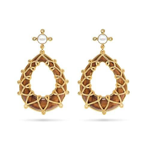$195.00 Chloe Drop Earrings, Pearl/Teak