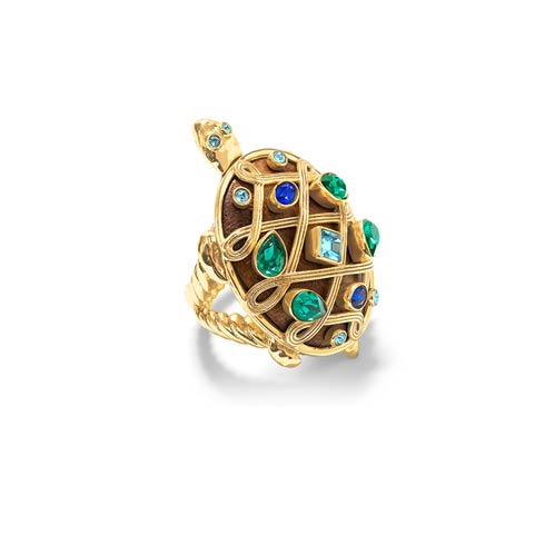 $195.00 Turtle Ring, Jeweled, Size 7