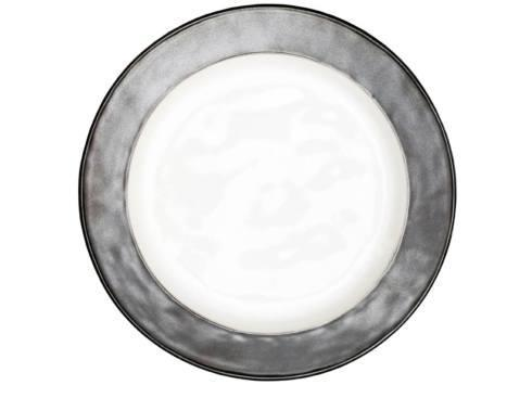 White/Pewter Dinner Plate