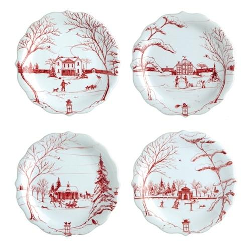 Juliska Country Estate Ruby Party Plate Set/4 $118.00