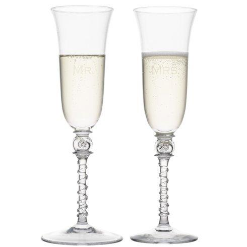 Juliska Bohemian Glassware (Mouth Blown) Amalia Mr. and Mrs. Tulip Champagne Flute Set $160.00