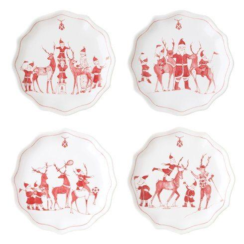 Juliska  Country Estate Reindeer Games Ruby Tidbit Plates Set/4 $95.00