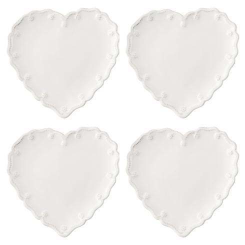 Juliska Berry & Thread Whitewash Heart Cocktail Plate Set/4 $98.00