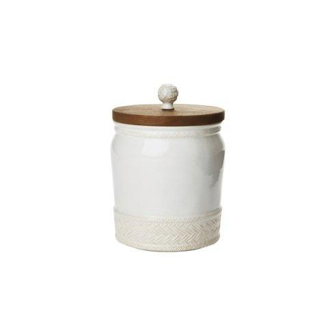 Juliska Le Panier Whitewash Canister with Wooden Lid 7.5