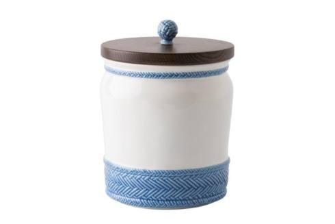 "Juliska Le Panier White/Delft 7.5"" Canister with Wooden Lid $98.00"