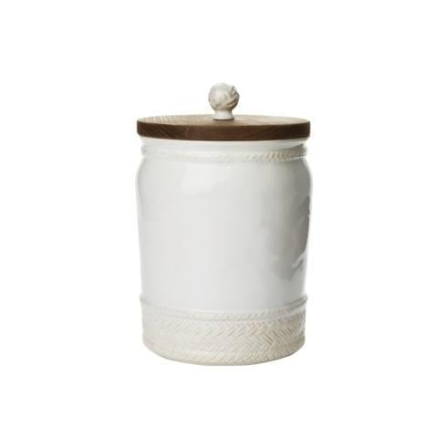 "Juliska Le Panier Whitewash 10"" Canister with Wooden Lid $112.00"