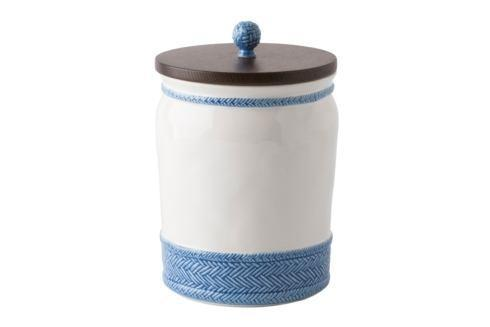 "Juliska Le Panier White/Delft 10"" Canister with Wooden Lid $118.00"