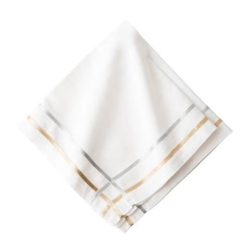 Juliska Linens Napkins Metallic Ribbon Lattice Gold/Silver Napkin $25.00