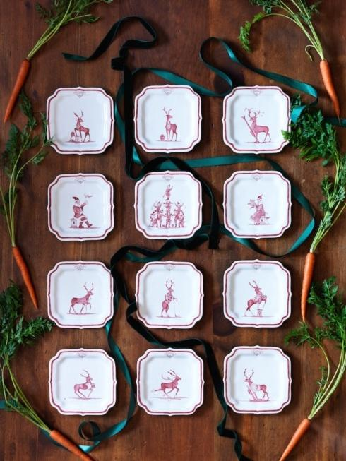 Juliska Country Estate Reindeer Games Ruby Party Plate Set/12 In Holiday Plate Keeper $395.00