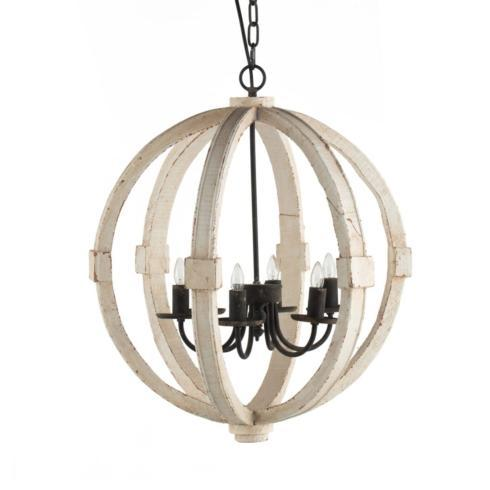A & B Home   WOOD AND METAL GLOBE CHANDELIER $470.00