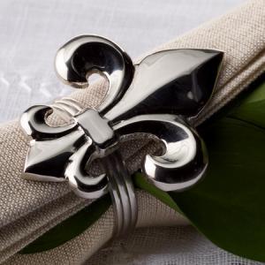 India Handicrafts   FLEUR DE LIS NAPKIN RINGS (SET OF 4) $20.00