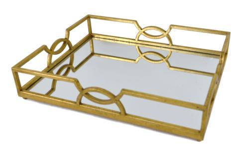 $168.00 MIRRORED GOLD RECTANGULAR TRAY