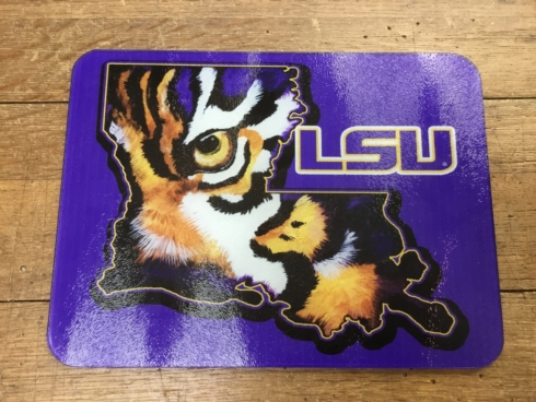 $45.00 PURPLE LSU GLASS CUTTING BOARD