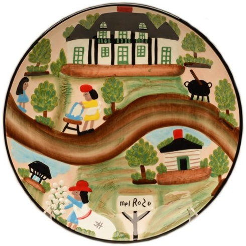 Clementine Hunter   A DAY AT MELROSE PLATTER $160.00