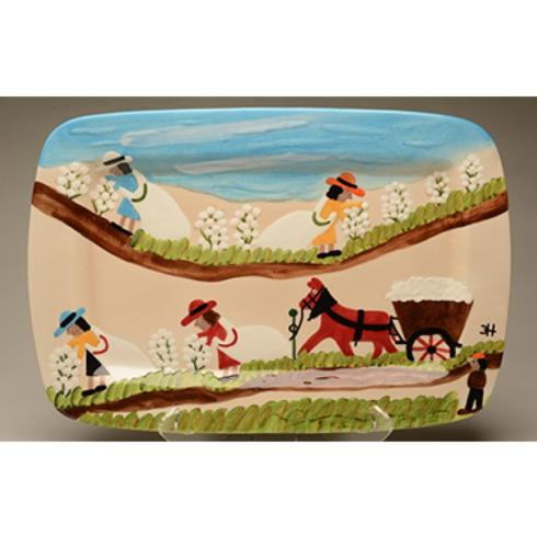 Clementine Hunter   PICKING AND HAULING COTTON PLATTER $148.00