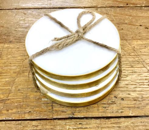 Roost   MARBLE COASTERS WITH BRASS EDGE - SET OF 4 $34.00