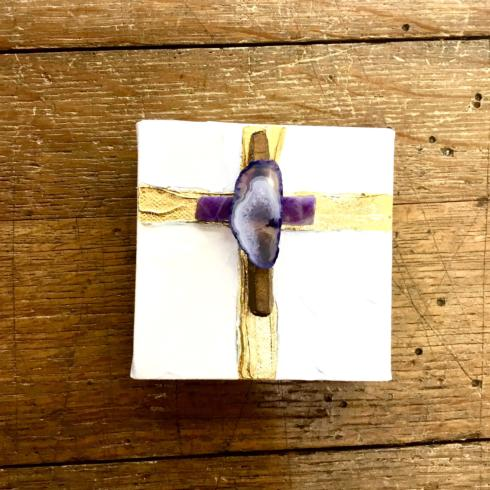 John Ward Exclusives  BLESSING BOWLS - BY CARRIE COX GEODE MIXED ART CANVAS - PURPLE $75.00