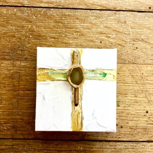 John Ward Exclusives  BLESSING BOWLS - BY CARRIE COX GEODE MIXED ART CANVAS - GREEN $75.00