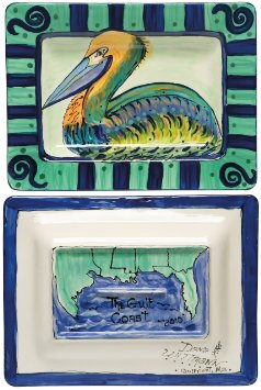 Caffco International  DANA WITTMAN PELICAN RECTANGULAR PLATTER $85.00