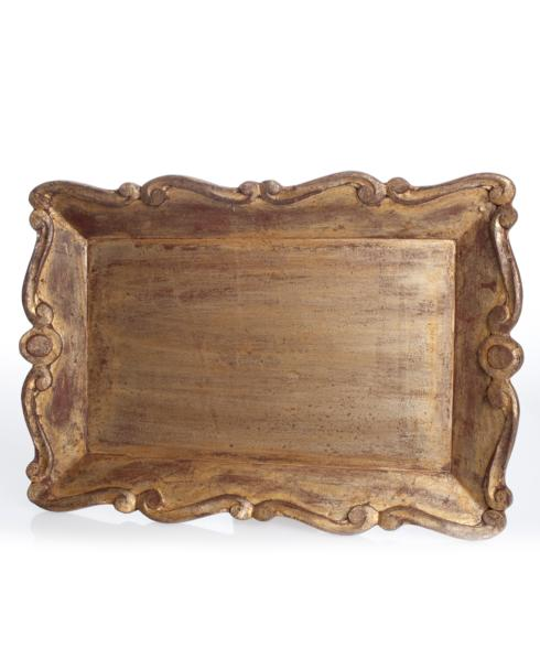 Abigails   GOLD SCALLOPED SERVING TRAY $98.00