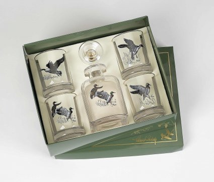 Richard E Bishop   WATERFOWL DECANTER AND OLD FASHION SET $80.00