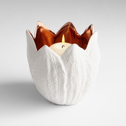$38.00 WHITE AND ROSE GOLD CANDLE HOLDER