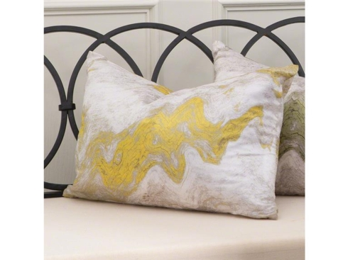 Global Views   YELLOW MARBLED PILLOW $83.00
