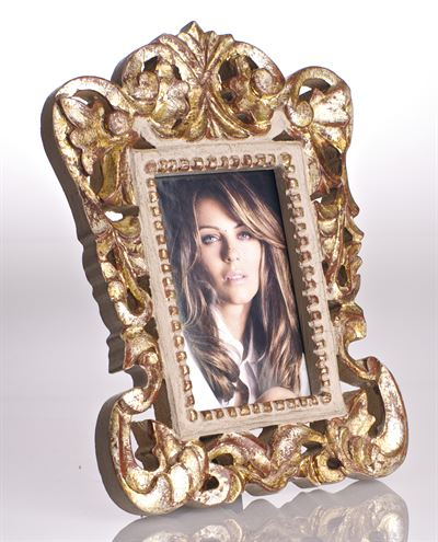 Abigails   GRAY AND GOLD LEAF FRAME 4 X 6  $72.00