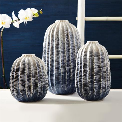 Two's Company   BLUE ZIG ZAG OMBRE VASE - LARGE $86.00