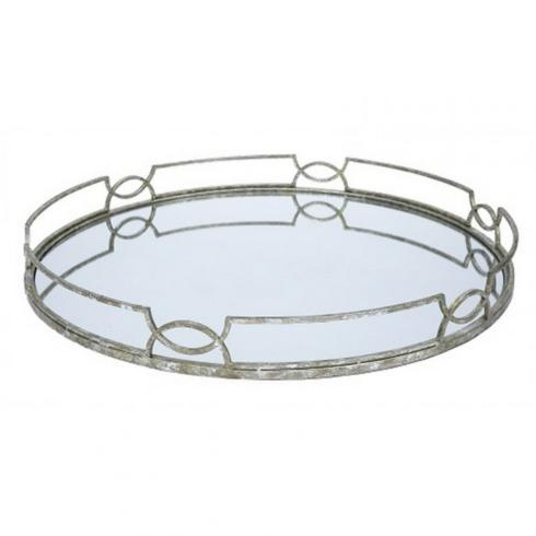 Old World Design   MADELINE OVAL MIRRORED TRAY $125.00
