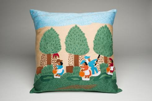 Clementine Hunter   PECAN PICKING FULLY EMBROIDERED PILLOW $198.00