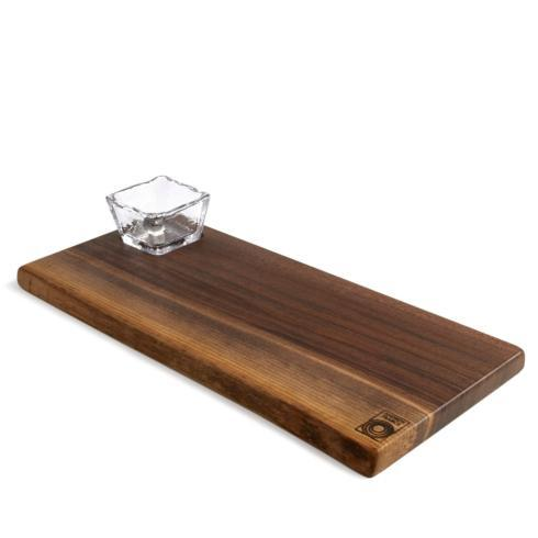 $140.00 Andrew Pearce Black Walnut Live Edge Board and Glass Bowl Set