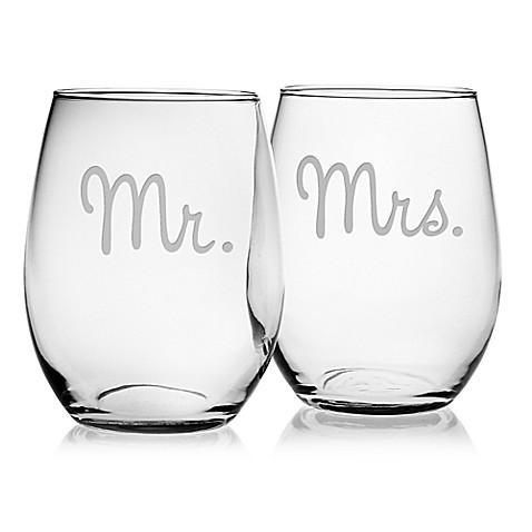 Housewares   Mr & Mrs Stemless Wine Glasses $28.50