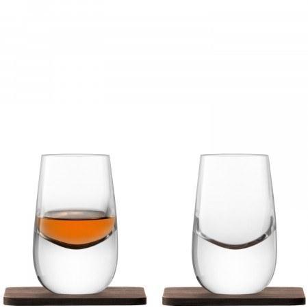 $55.00 LSA International WHISKY Islay Shot Glass & Walnut Coaster X 2 80ml