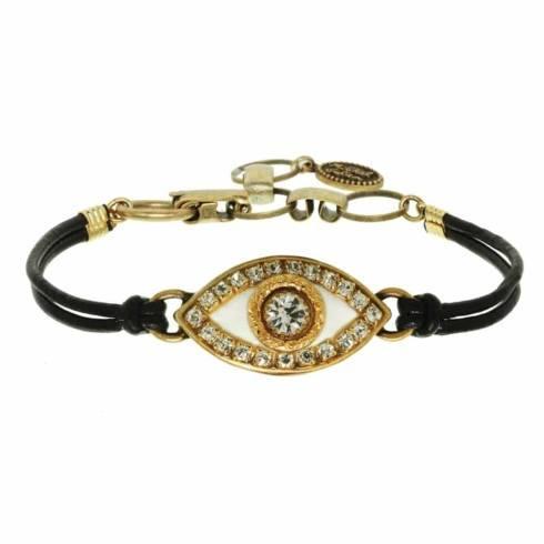 $55.00 Medium white evil eye bracelet